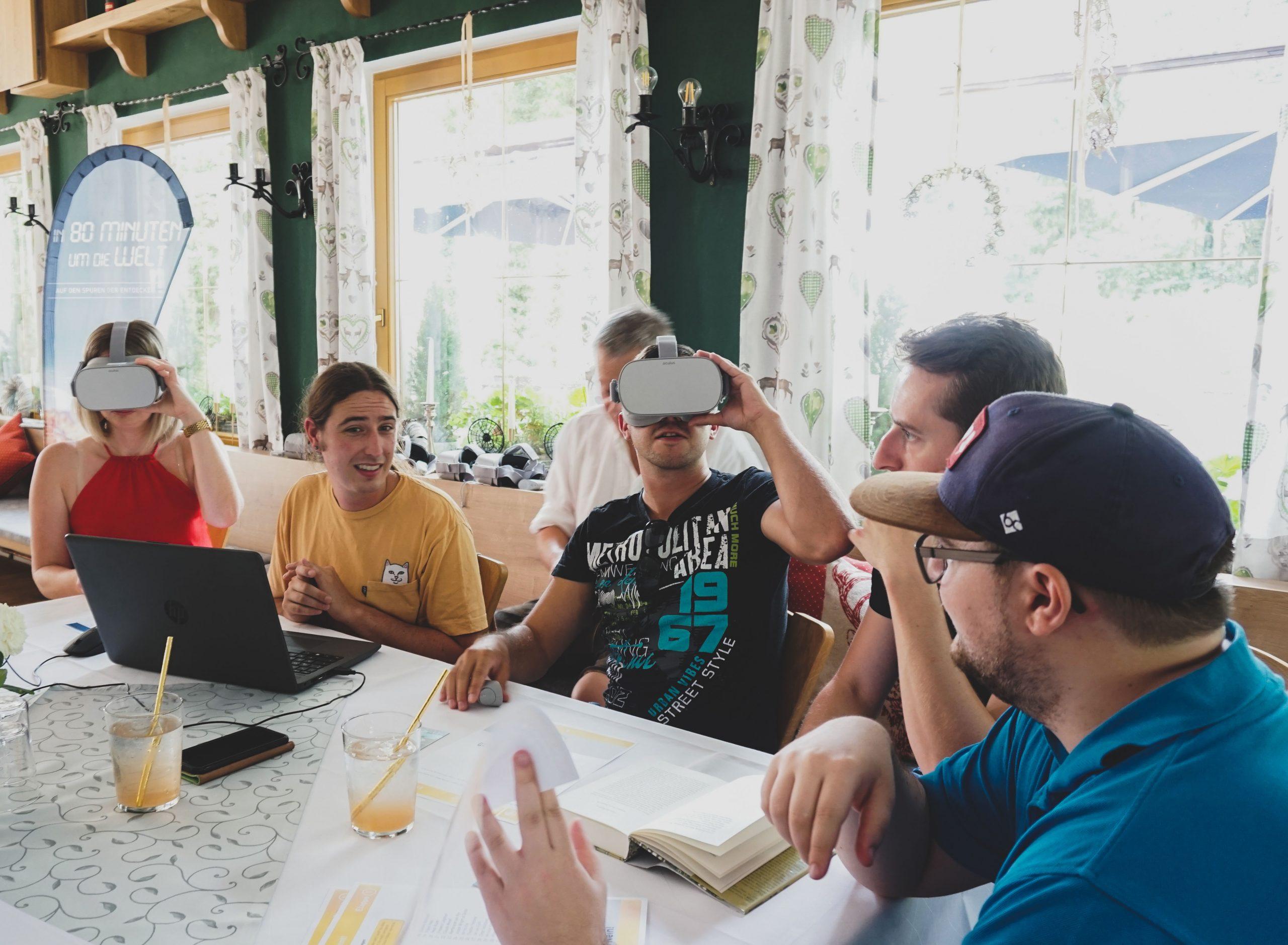 employees testing VR glasses